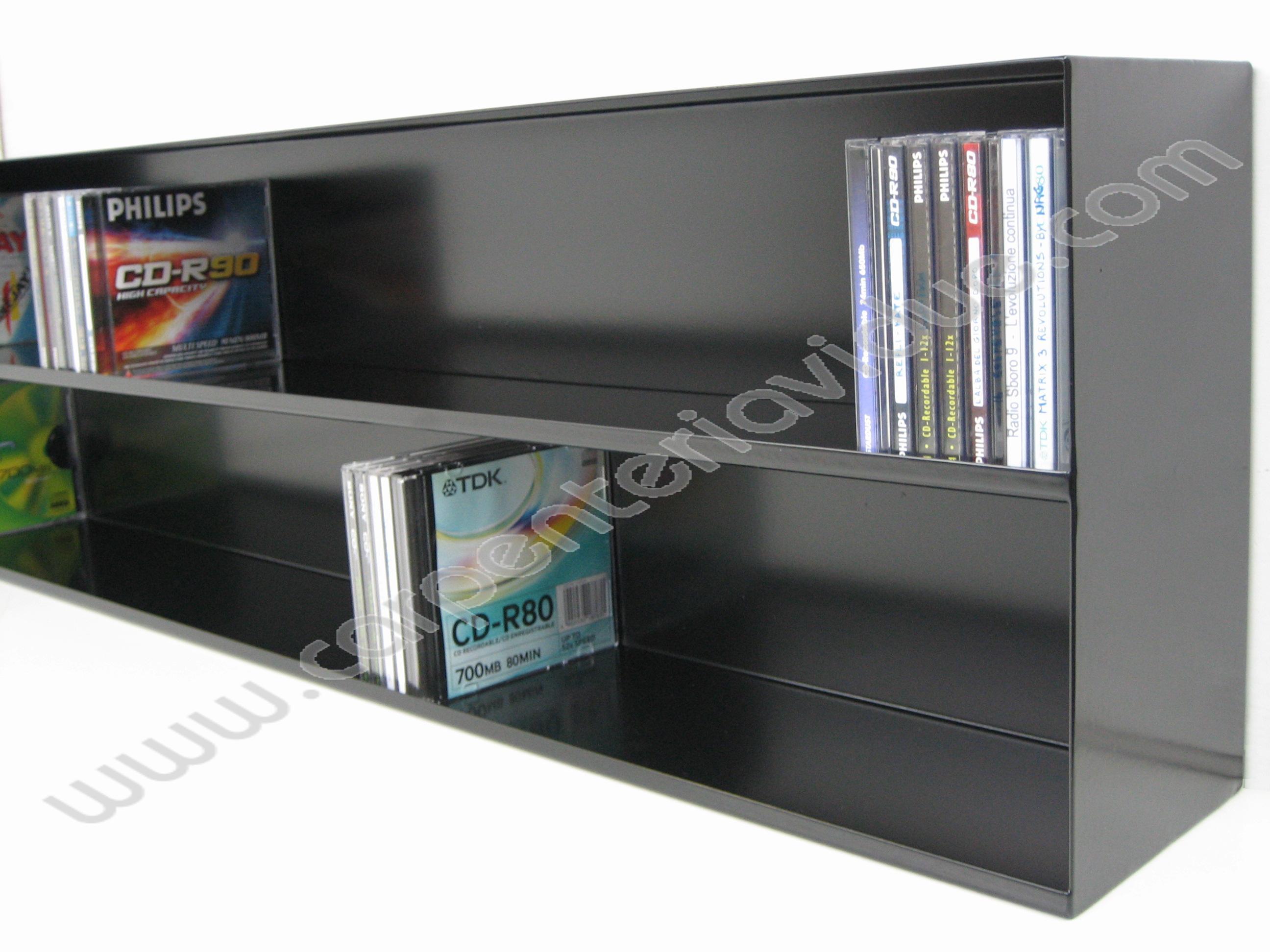 Libreria orizzontale in acciaio da muro porta cd formata - Libreria porta dvd ...
