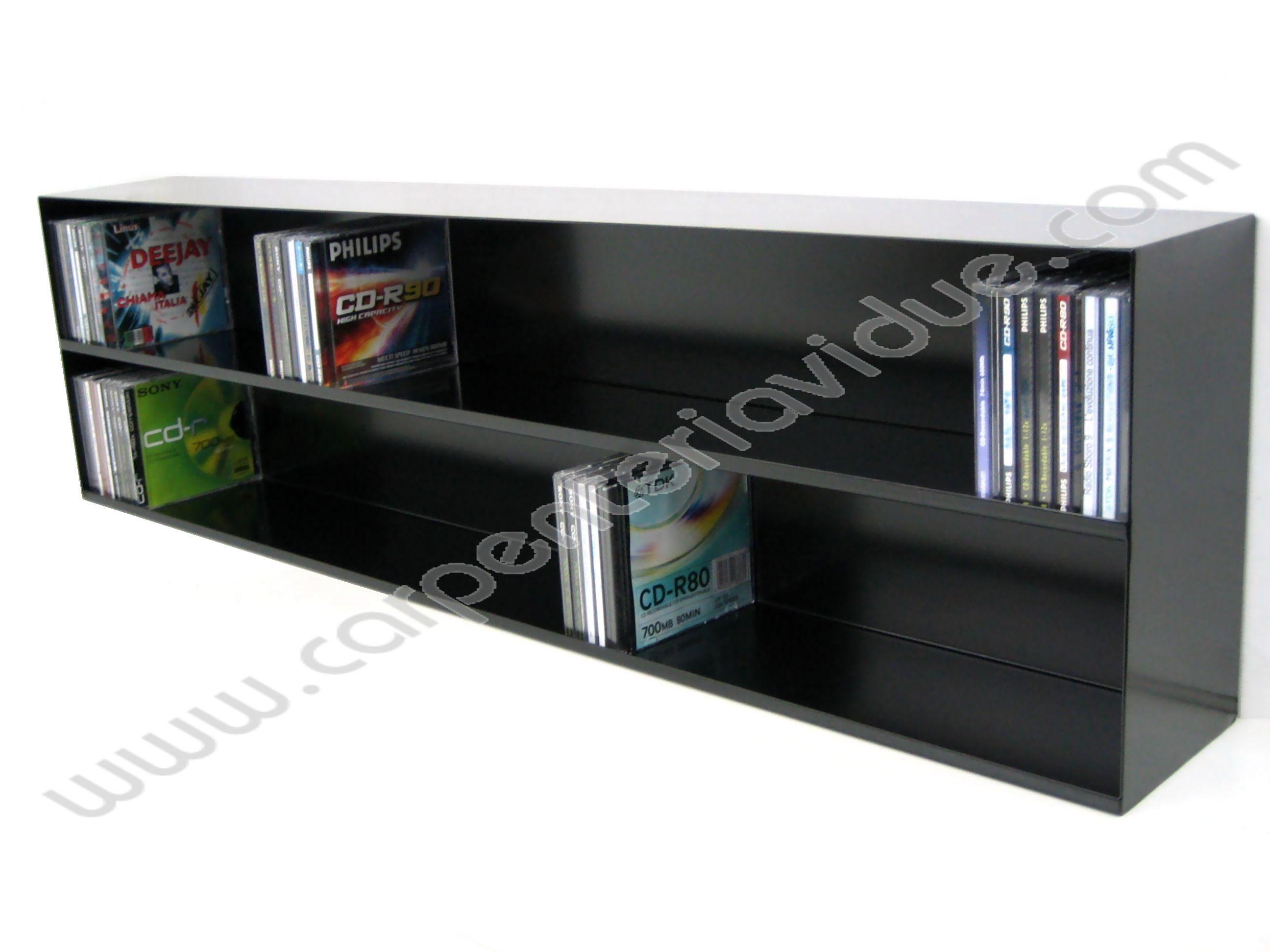 Libreria orizzontale in acciaio da muro porta cd formata - Porta dvd da parete ...