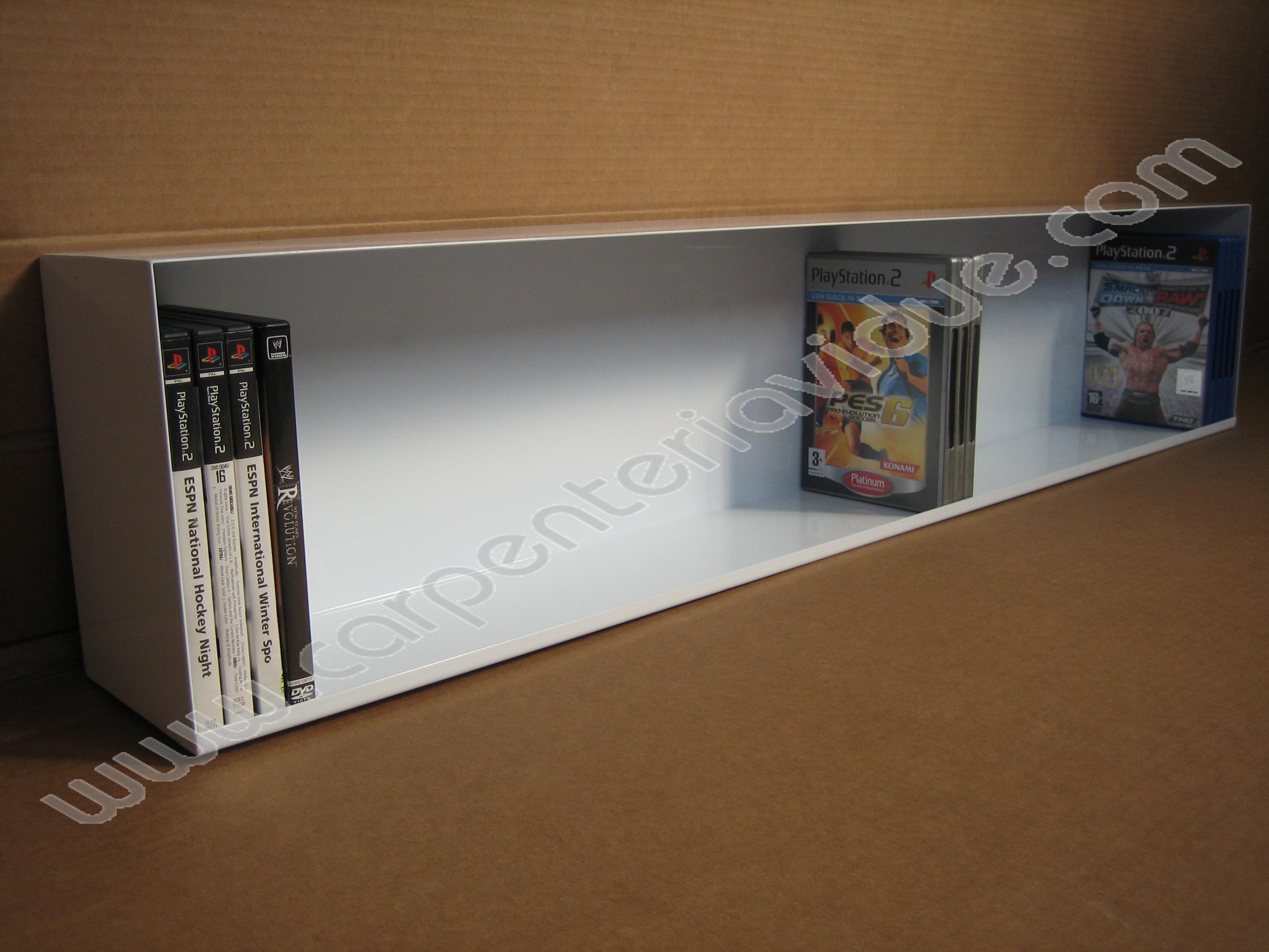 Libreria orizzontale in acciaio da muro porta dvd ad 1 - Porta dvd da parete ...